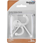 National White Double Clothes Wardrobe Hook, 2 per Card Image 2