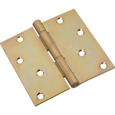 National 4 In. Square Satin Brass Tone Door Hinge