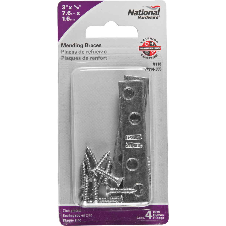 National Catalog 118 3 In. x 5/8 In. Zinc Steel Mending Brace (4-Count) Image 2